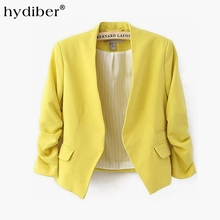 2016 new arrival spring autumn fashion brand blazer women Candy Color ladies coat Slim Solid puff sleeve blazers Basic jackets