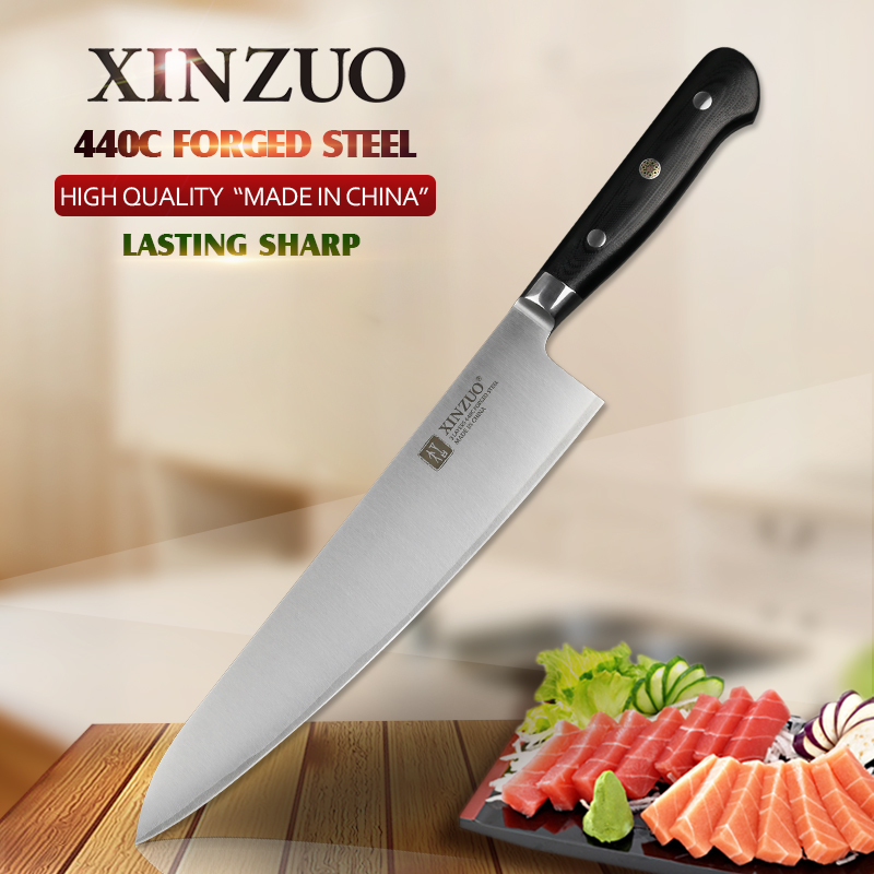 XINZUO 9.5'' Butcher's Knife 3 Layers 440C Forged Steel Stainless Steel 240mm Gyuto Knife 60 HRC Kitchen Chef Knives G10 Handle-in Kitchen Knives from Home & Garden    1