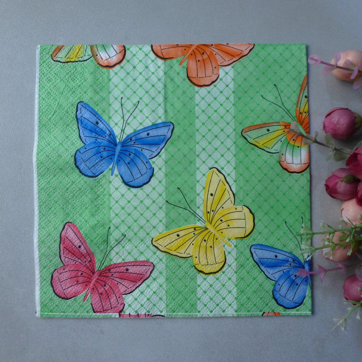 4 x Single table party paper napkins decoupage Butterflies Colourful