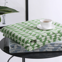 Europe Green Geometric Knitted Blanket Throw 130x180cm Cotton Travel Hotel Hospital Warm Blankets Comfortable Bed Covers Winter