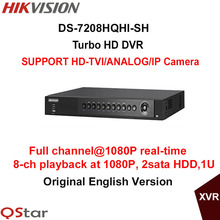 Hikvision Original 8ch 1080P Turbo HD DVR DS-7208HQHI-SH Support HD-TVI/analog/IP camera triple hybrid 2HDD 1U