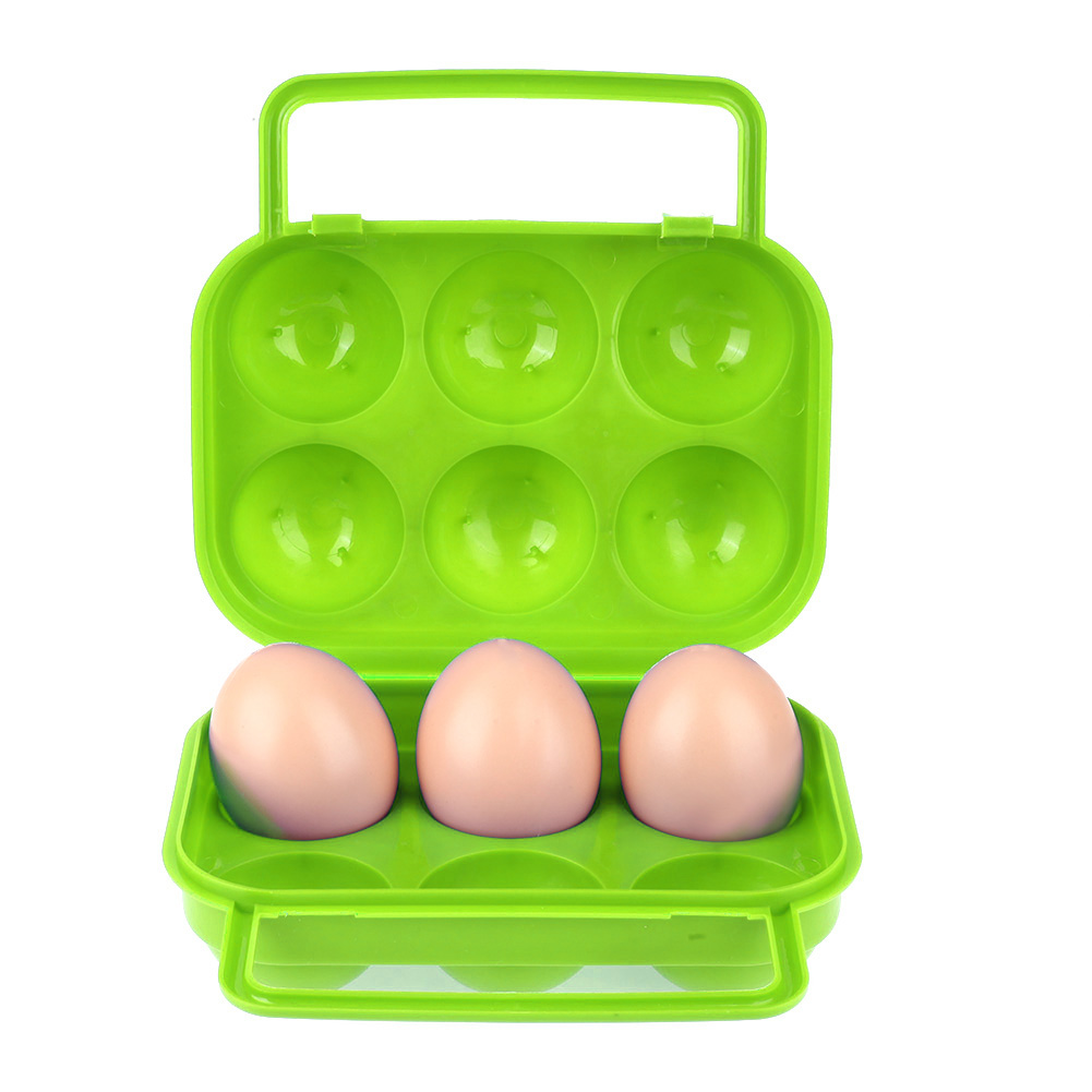6 Grid Egg Case Plastic Container for Eggs Folding Egg Storage Box Refrigerator Outdoor Hiking Camping Carrier