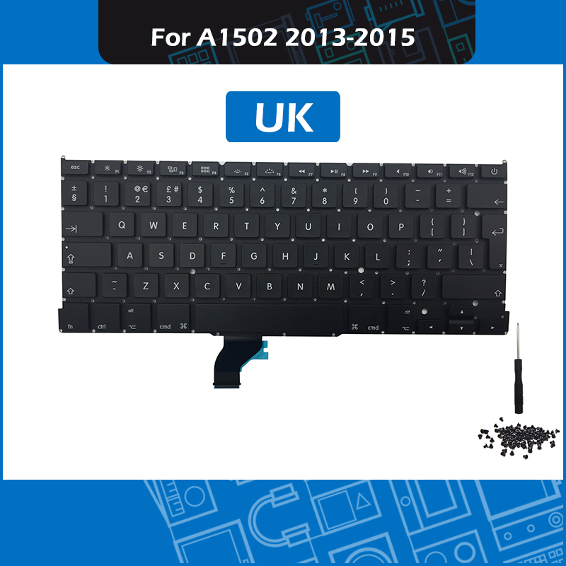 Laptop Keyboard + Backlight + Screws + Tool For Macbook Pro 13 A1502 UK Keyboard Replacement 2013 2014 2015 image