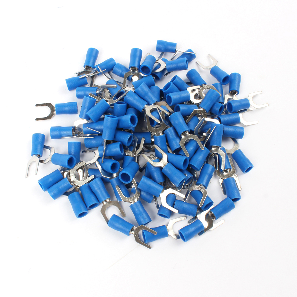 100PCS SV2-6 Blue insulation Furcate Terminal Cable Connector Wire Connector