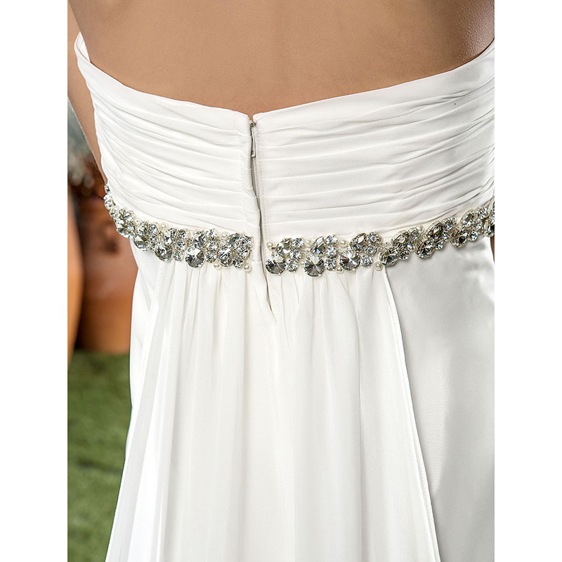 LAN Ting невесты трапециевидной формы без бретелек свадебное платье Часовня Поезд шифоновое свадебное платье с кристально лента цветок Рюш