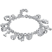925 sterling silver Jewerly 13 luckly charms bracelet for Women/girls Fine Jewerly Gift Wholesale Bracelet CH144