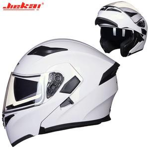 Image 4 - Kış DOT JIEKAI JK902 motosiklet kask çift Lens motosiklet MOTO Motocross kaskları siyah beyaz kırmızı M L XL XXL