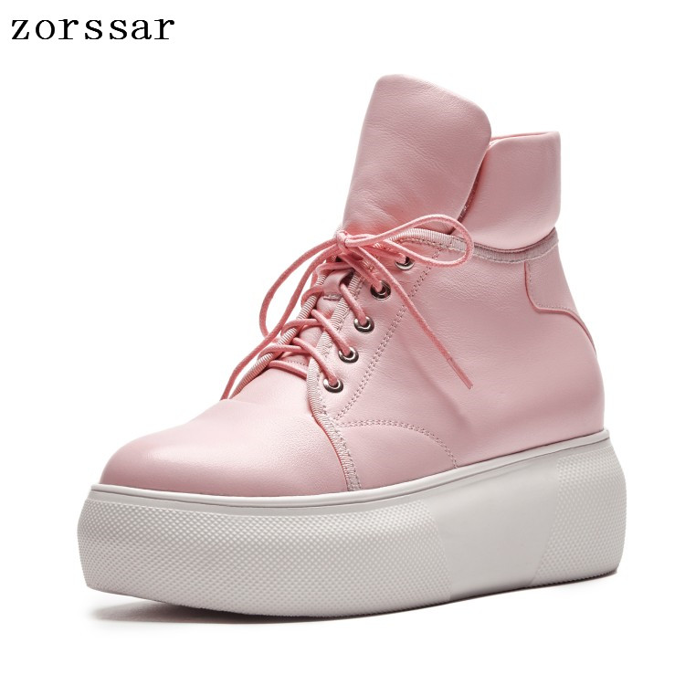 {Zorssar} Fashion women boots 2018 New Autumn winter ladies shoes Soft leather platform ankle boots flat shoes Black white pink{Zorssar} Fashion women boots 2018 New Autumn winter ladies shoes Soft leather platform ankle boots flat shoes Black white pink
