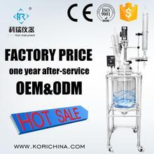 CE одобренный с высоким содержанием боросиликата gg3.3 двойной подкладке стеклянный химический реактор 30L с тефлоновое уплотнение на фабрике низкая цена