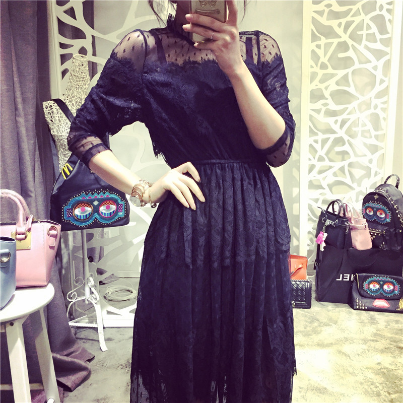 88ce394b07afc 2016-spring-plus-size-clothing-cutout-lace-slim-stand-collar-basic-skirt-one -piece-dress-full.jpg