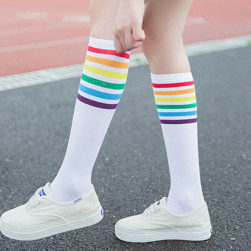 Japanese Women's Rainbow Striped Stockings Fall Cute Women Students Girls Colorful Stripes Black White Cotton Knee Socks