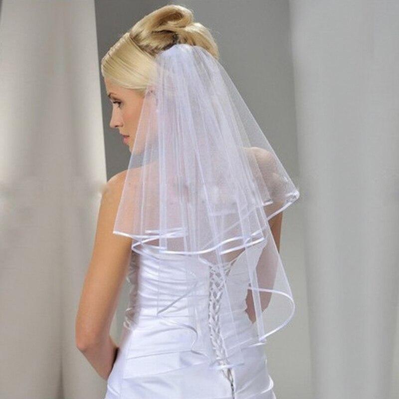 Bridal Veil Women Wedding Dress Veil Two Layersf Tulle Rbbon Lace Edge Women Accessories