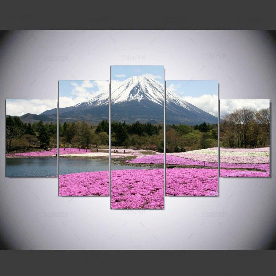 Envio Verzending 5 Panelen Japan Mount Fuji Roze Bloemen Veld Landschap Doek Schilderen Modulaire Foto ny-1155