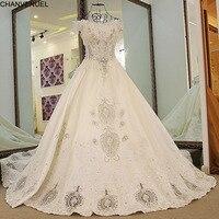LS65471 100% реальное изображение Атлас свадебное платье бальное платье корсет сзади Аппликация Кружева Бисер Топ Арабский свадебное платье 2017