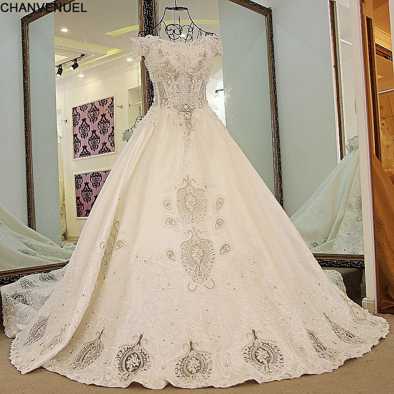 LS65471 100% Real Image Satin Wedding Dress Ball Gown