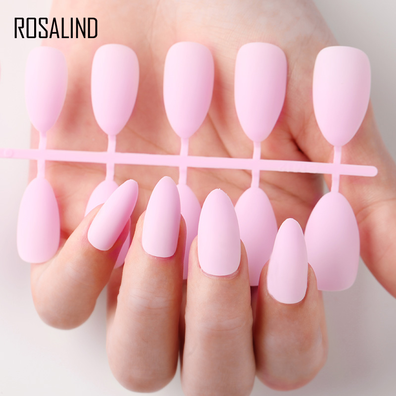 ROSALIND Matte Fake Full Cover Fake Press on Clear Artificial <font><b>Nails</b></font> Tips Display for <font><b>Nail</b></font> Extensions <font><b>with</b></font> <font><b>Designs</b></font> <font><b>False</b></font> <font><b>Nail</b></font> Art image