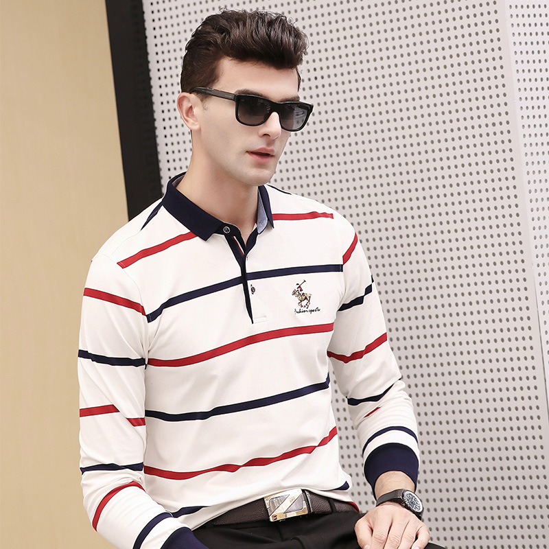 Autumn winter new long sleeve striped   polo   shirt men business casual breathable plus size XXXL homme camisa men's clothing 2893