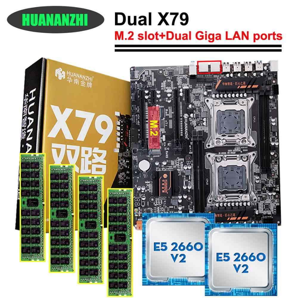 Hot brand HUANAN ZHI dual X79 motherboard bundle discount motherboard with M.2 slot dual CPU Intel Xeon E5 2660 V2 RAM 32G(4*8G)