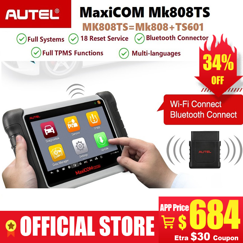 Autel MaxiCOM MK808TS Professional Bluetooth OBD2 Diagnostic Service Scan Tool Car Scanner Programing TPMS Sensor PK MK808 TS608
