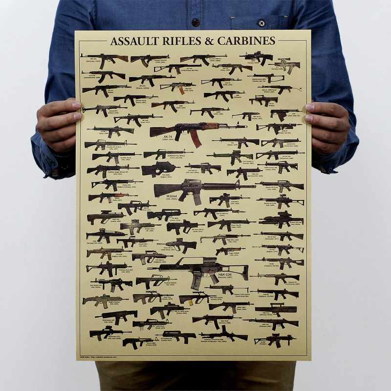 Retro AK47 Arma Arma Armas de Papel Poster Vintage Wallpaper Poster 51x35.5cm Da Parede Do Vintage