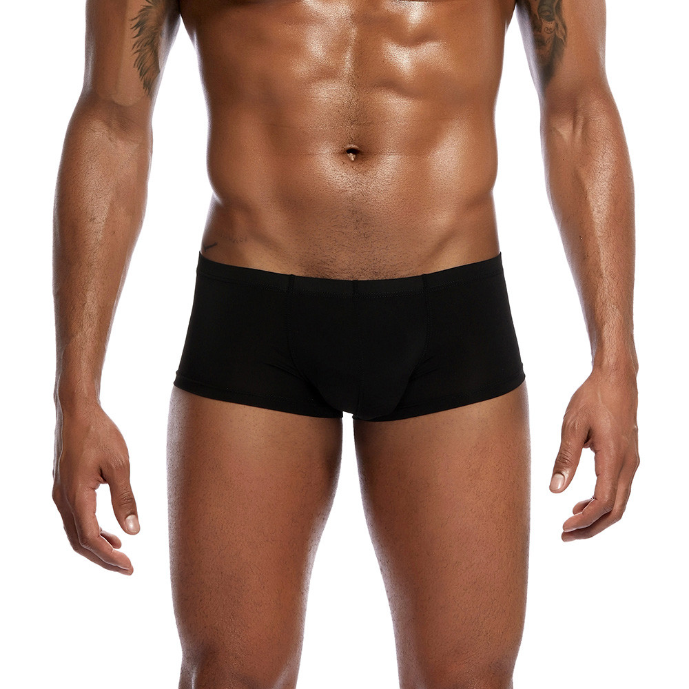 boxer Men Underwear Boxer Shorts Solid Color Pouch Cotton Ultra thin Underpants ropa interior hombre sexy underwear Youth in Boxers from Underwear Sleepwears