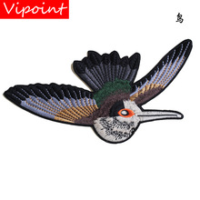 embroidery birds patches for jackets,birds badges for jeans,animal appliques for backpack A258 embroidery round birds patches for jackets fish badges for jeans appliques a133