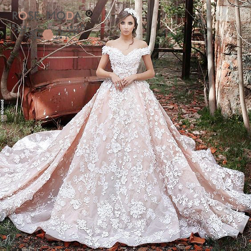 Rose Moda Off The Shoulder Ivory Lace Over Blush Pink Wedding Dress With Royal Train 3D Ball Gown V Back In Dresses From Weddings