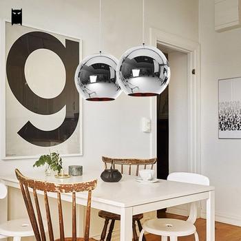 25/30/35/40cm Gold Chrome Copper Mirror Glass Ball Globe Pendant Light Cord Fixture Modern Hanging Lamp Design Dining Room