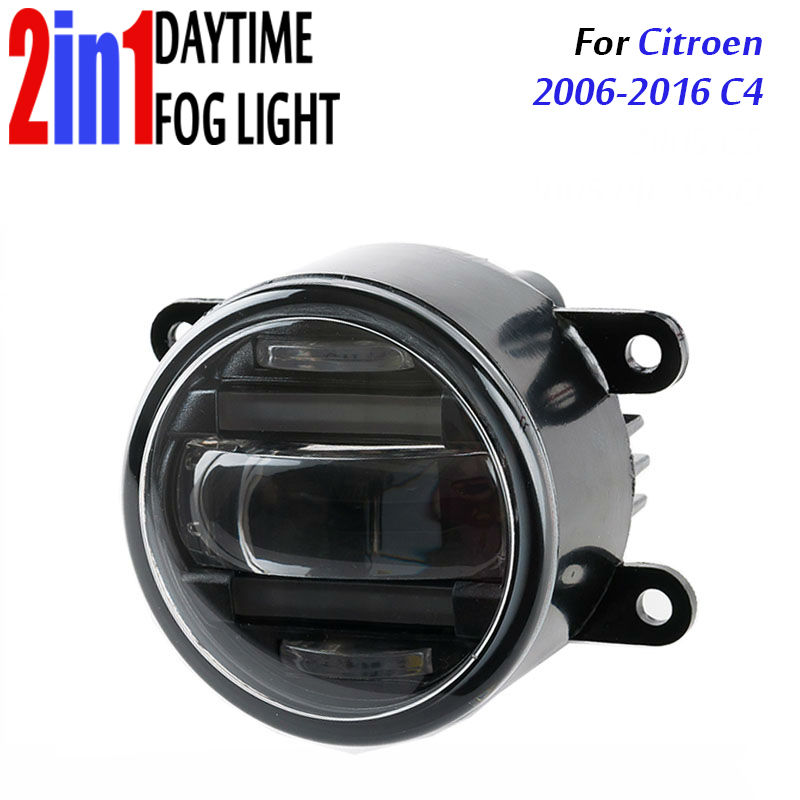 for Citroen C4 2006-2016 3.5 90mm Round LED Fog Light Daytime Running Lamp Assembly LED Chips Fog Lamp DRL Lighting Lens