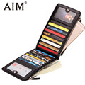 AIM Multifunction Business Credit Bank Card Holder Men Fashion Black Genuine Leather Wallet Men Phone ID Card Case Dollar Purse