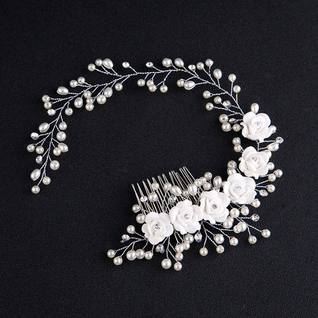 Fashion Korean Women Hair Comb Bride Wedding Hair Clip Handmade Flowers Beads De