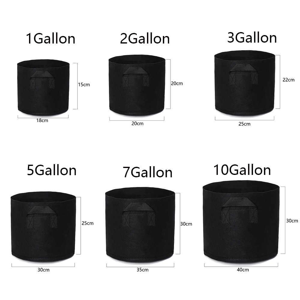 1/2/3/5/7/10 gallons rond avec poignées jardinière pot de fleurs en tissu noir plantation sac de culture Pots de jardin et jardinières