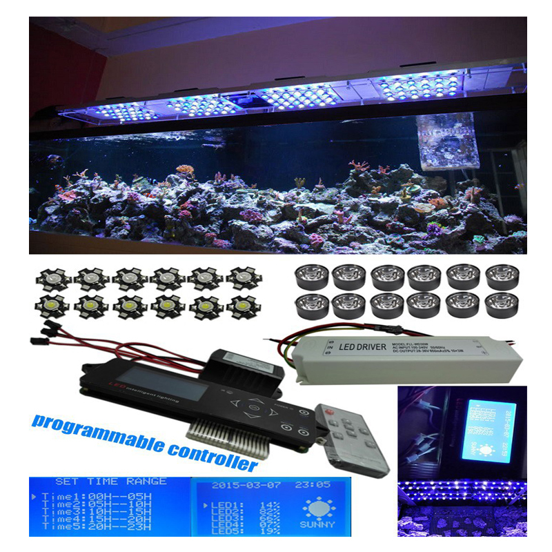 Programmable Romote 300W Aquarium Wireless Dimmable Controller Phantom Led  Light 100x3W Sunrise Sunset Coral Reef Led