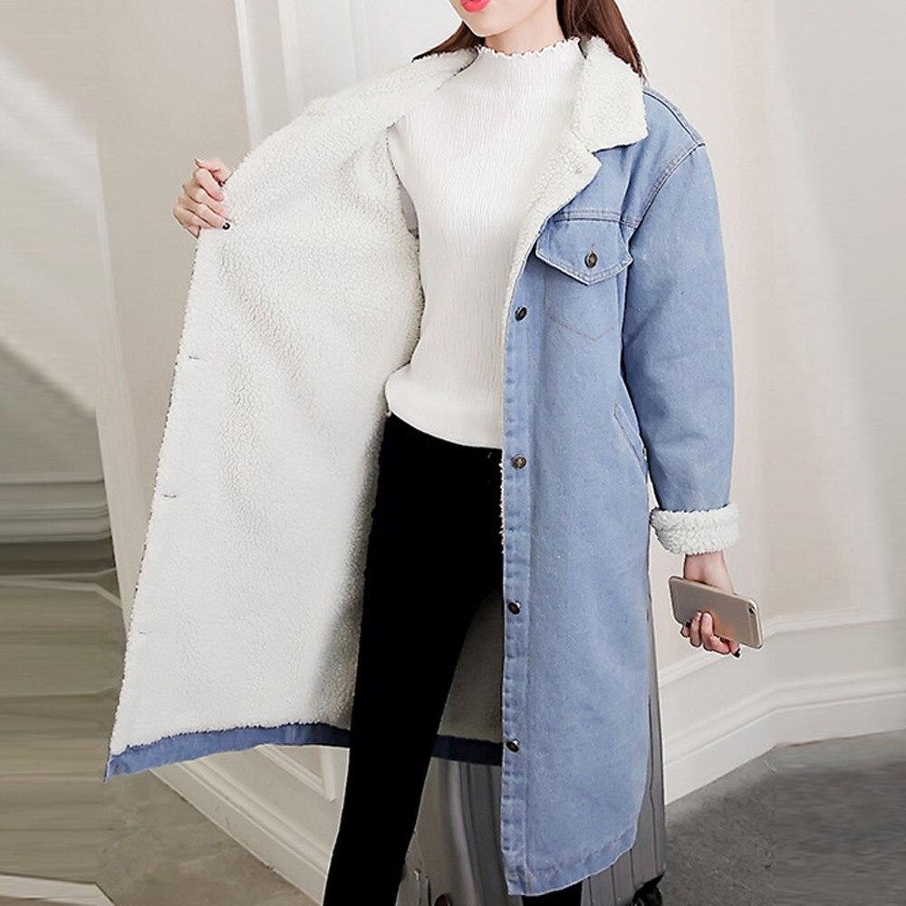 feitong Women Long Sleeve  Winter New 2018 Women lambswool jean Coat Long Sleeves Warm Jeans Coat Outwear Wide Denim Jacket #Y35 cocktail dress