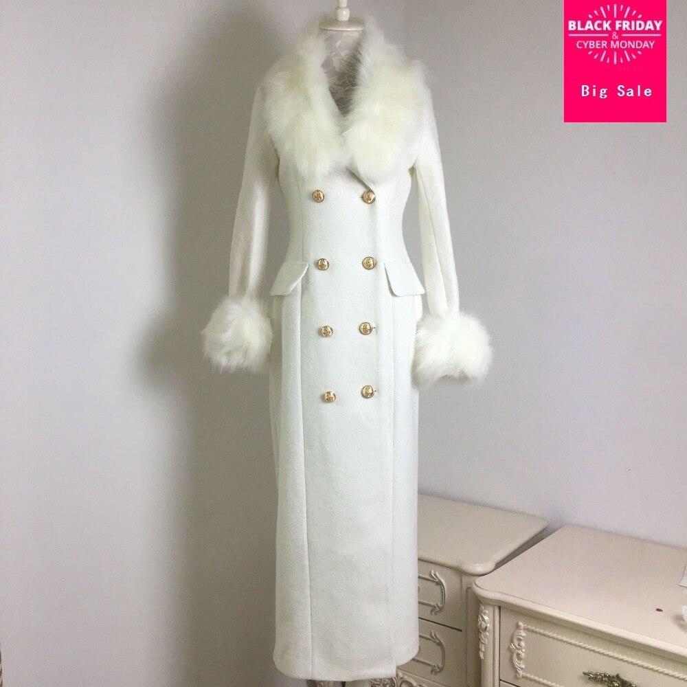 Hiver de mode femmes de laine manteau haute imitation big fox col de fourrure blanc cachemire manteau femelle double breasted mince outwear L1372