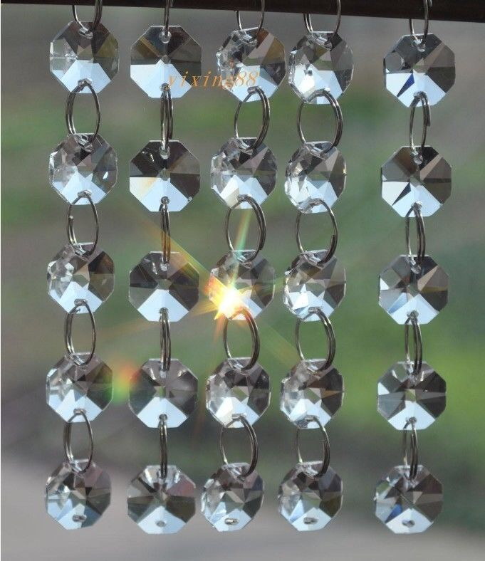 10 Strands 2 Holes Clear 14mm Octagon Beads Crystal Chandelier Lamp Parts Prism Ornaments
