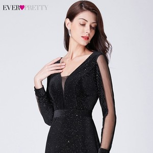 Image 5 - Evening Dresses 2019 Long Sleeve Ever Pretty V neck Sparkle Elegant Little Mermaid Autumn Winter Long Formal Party Prom Gowns