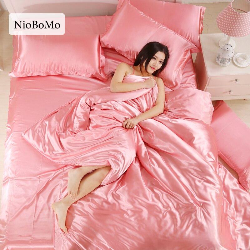 Niobomo Silk Satin Bedding Set Solid Color Bed Linen Jade Duvet Cover Set Soft Flat Sheet 3Pcs or 4Pcs Bedclothes