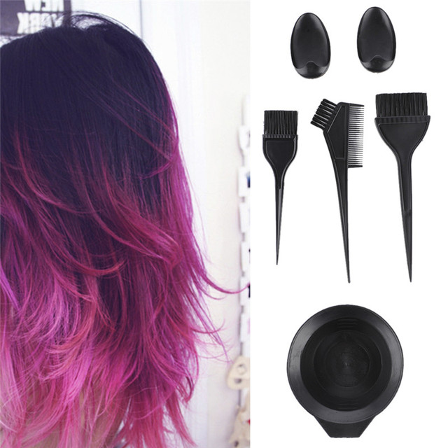 5 Pcs Set Salon Hair Dye Kit Color Brush Comb Mixing Bowl Tint