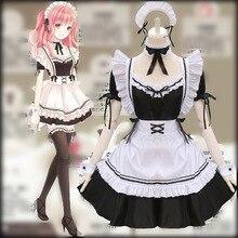 Amine Black disfraz de Lolita para mujer, disfraz de camarera, para fiesta y escenario