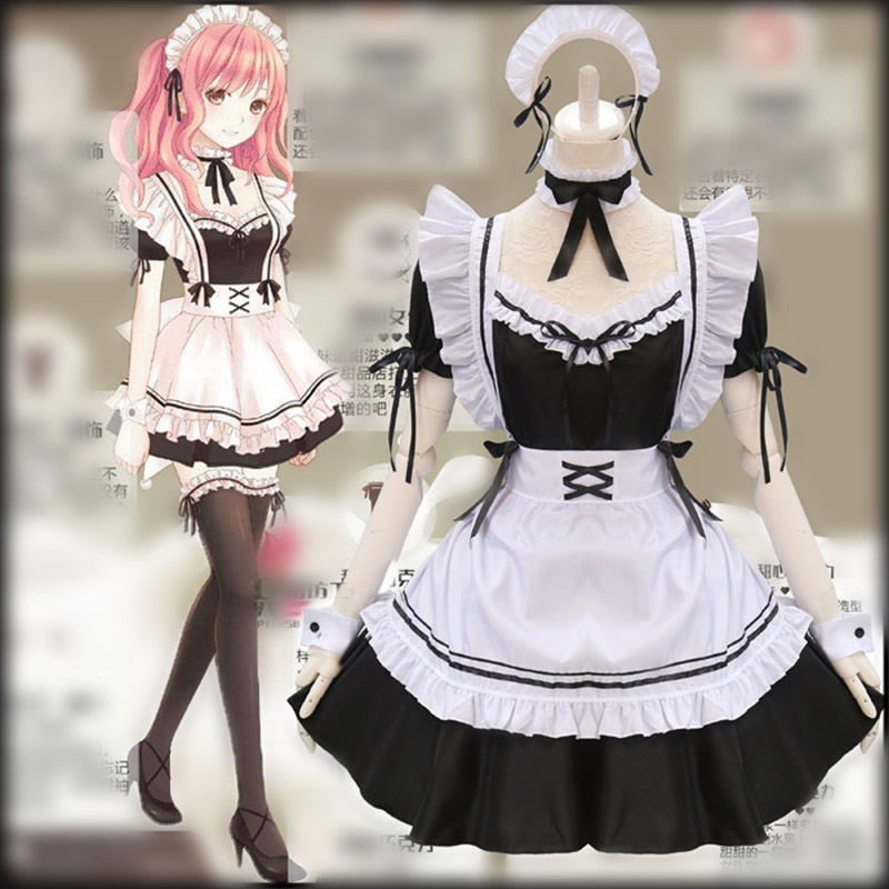 Black Cute Lolita Maid Costumes French Maid Dress Girls Woman Amine Cosplay Costume Waitress Maid Party Stage Costumes    -