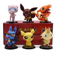6 pcs/set Anime Cute Cartoon Doll 1st Ver. Mewtwo Pikachu Meowth Eevee Charizard PVC Action Figure Collection Model Toy
