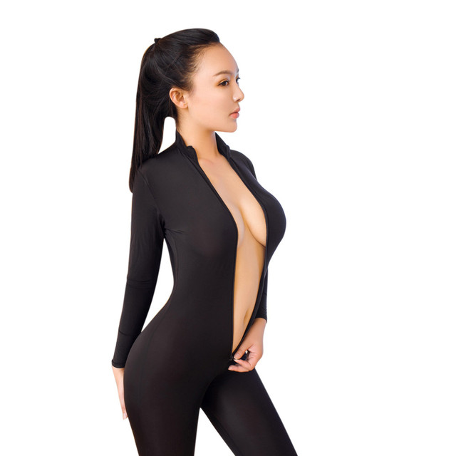 المرأة سستة ضيق المناسب بذلة مفتوحة المنشعب عالية مطاطا الأرداف مشد ارتداءها بلون طويل الأكمام بذلة # LR4 1
