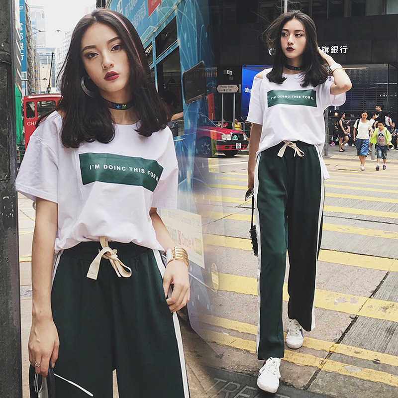 New Summer Women Tracksuit Casual Two Pieces Set Korean Clothes Womens Sport Suit Sweatshirt Side Stripe Pants Sets Streetwear