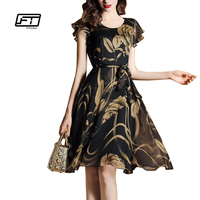 Fitaylor Summer Women Dress 2017 Floral Print Slim Dresses Casual O Neck Chiffon Plus Size Elegant