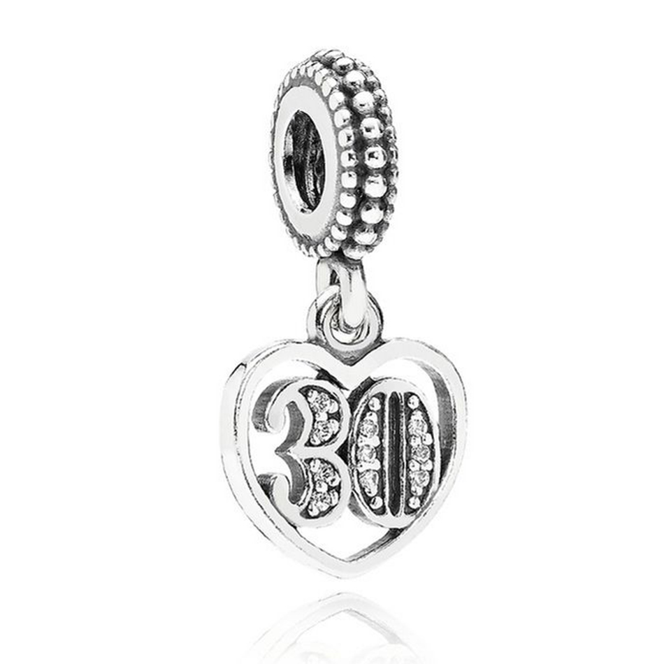 Authentic 925 Sterling Silver 30 Years Of Love With Crystal Hanging Pendant Charm Fit Pandora Bracelet Bangle DIY Jewelry Making