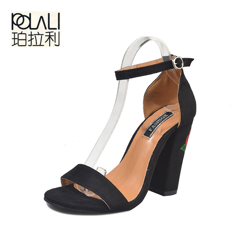 POLALI 2018 summer new women fashion velvet square root embroidery buckle high heels female sexy nightclub large size high heels