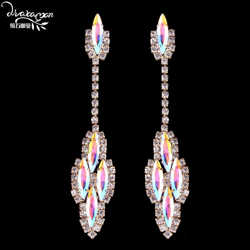 Dvacaman Brand Silver Color Shine AB Crystal Earrings Bridal Long Drop Earrings Women Wedding Statement Jewelry Earrings HH18