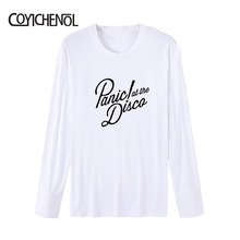 Fashion Panic At The Disco customize print tshirt men regular casual tops modal long sleeves tee solid color hiphop