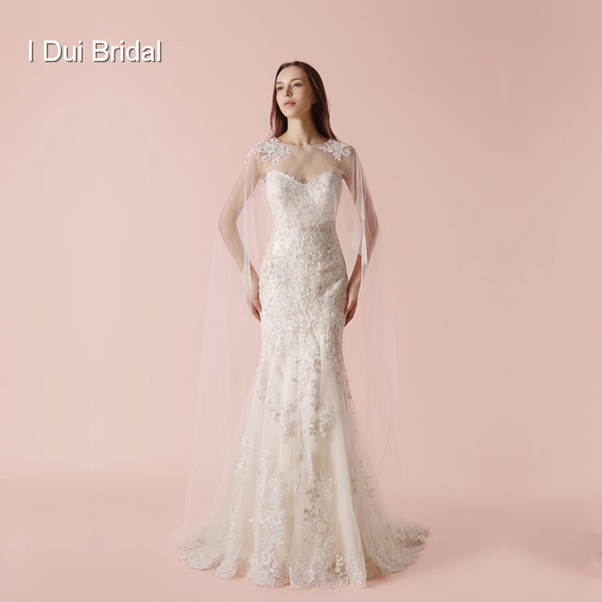 With Long Scarf Wedding Dress Sheath Lace Appliqued Elegant High Quality Bridal Gown